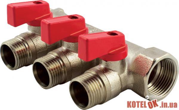Коллектор FADO с шаровыми кранами 3/4′′x1/2′′ 3 отверстия (8008261090237) (KSR03)