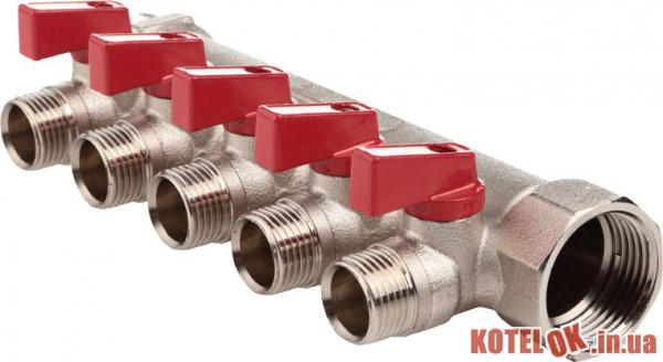 Коллектор FADO с шаровыми кранами 3/4′′x1/2′′ 5 отверстий (8008261090435) (KSR05)